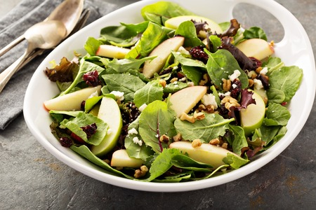 Photo for Fall salad with spring mix, apple and cranberry - Royalty Free Image