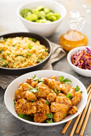 Photo for Spicy sweet and sour chicken with rice and cabbage - Royalty Free Image
