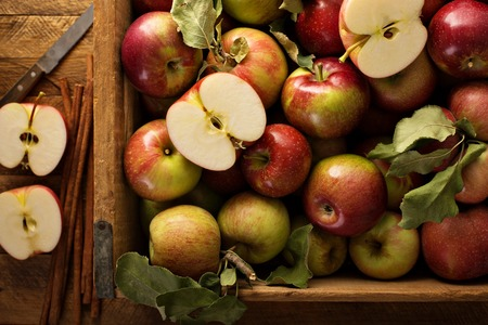 Photo for Freshly picked apples in a wooden crate - Royalty Free Image