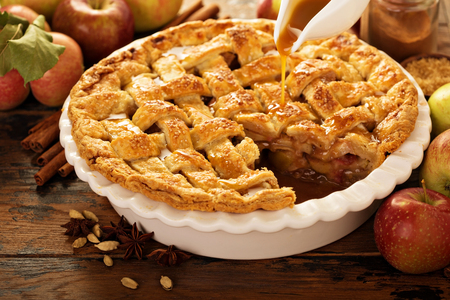 Photo for Apple pie decorated with lattice - Royalty Free Image