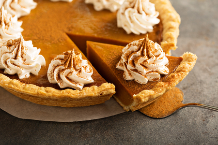 Photo for Pumpkin pie with whipped cream - Royalty Free Image