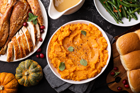 Photo for Mashed sweet potatoes on Thanksgiving table - Royalty Free Image