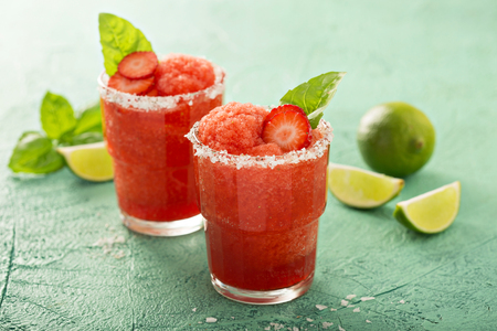 Photo for Frozen strawberry lime margarita - Royalty Free Image