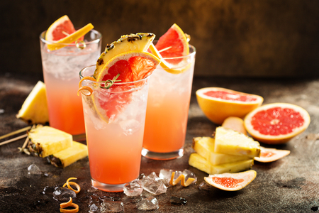 Photo for Grapefruit and pineapple cocktail or mocktail, refreshing drink with sparkling water - Royalty Free Image