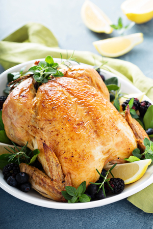 Photo for Roasted chicken for holiday or sunday dinner - Royalty Free Image