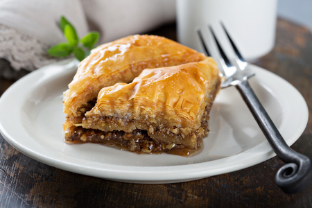 Photo for Baklava on a dessert plate - Royalty Free Image