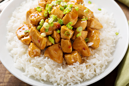 Photo for Sweet and sour chicken with rice - Royalty Free Image