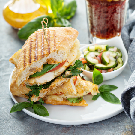 Photo for Grilled panini sandwich with chicken and cheese - Royalty Free Image