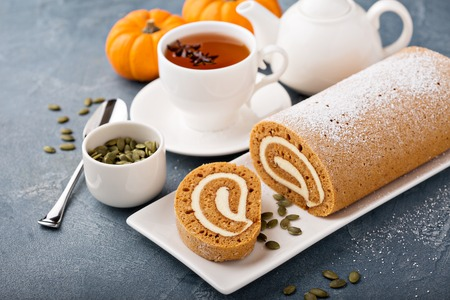 Photo for Fall dessert pumpkin roll with cream cheese - Royalty Free Image