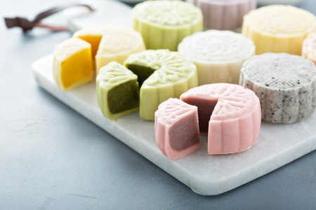 Foto de Snow skin sweet and savory traditional Chinese mooncakes - Imagen libre de derechos