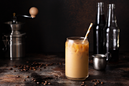 Photo for Cold brew iced coffee in glass bottles - Royalty Free Image