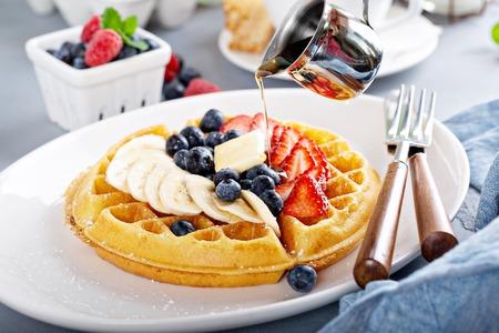 Photo for Waffle with fresh fruit - Royalty Free Image