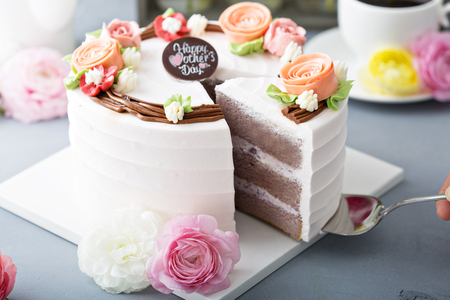 Photo for Mothers day cake with flowers - Royalty Free Image