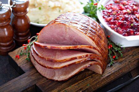 Photo for Holiday glazed ham for Christmas - Royalty Free Image