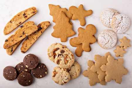 Photo for Variety of cookies for Christmas on white - Royalty Free Image