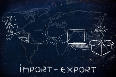 Photo for Import export: online purchase being processed and delivered - Royalty Free Image