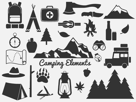 Illustration pour camping elements,outdoor icon - image libre de droit