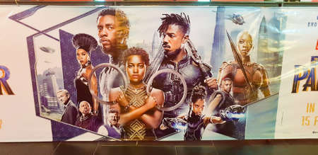 Photo pour KUALA LUMPUR, MALAYSIA - MARCH 2, 2018: Black Panther movie poster. Black Panther is a 2018 American superhero film based on the Marvel Comics character - image libre de droit