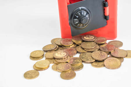 Photo for Red safe box and coins - Royalty Free Image