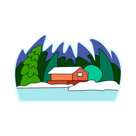 Illustration pour Vector illustration of a snow-covered village. in the winter forest - image libre de droit