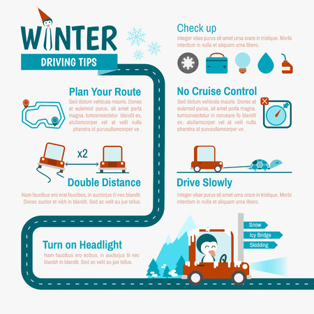Illustration for Winter Driving tips infographics for safety trip - Royalty Free Image
