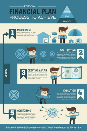 Illustration pour personal financial planning infographic describe process to achieve - image libre de droit
