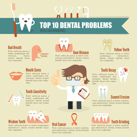 Photo pour Dental problem health care infographic - image libre de droit