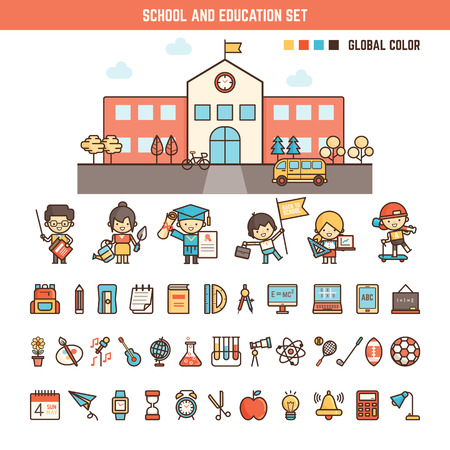 Photo pour school and education infographics elements for kid including characters , building and icons - image libre de droit