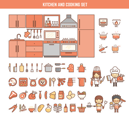 Illustration pour kitchen and cooking infographic elements for kid including characters and icons - image libre de droit