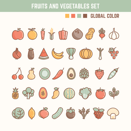 Photo for fruits and vegetables outline icon set for natural and healthy food - Royalty Free Image