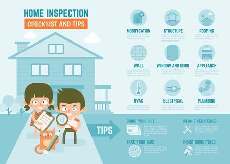 Illustration pour infographics cartoon character about home inspection checklist and tips - image libre de droit