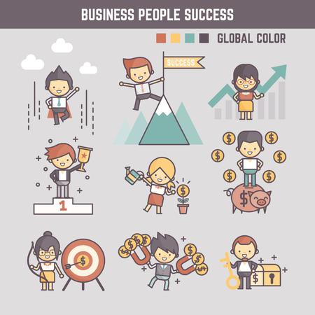 Illustration pour outline cartoon characters illustration of business people success - image libre de droit