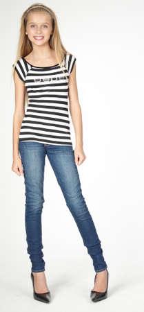 Foto de Slim Blond Teen in Jeans and Heels - Imagen libre de derechos