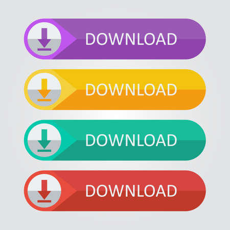 Illustration pour Vector flat buttons download - image libre de droit