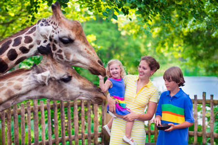 Photo pour Happy family, young mother with two children, cute laughing toddler girl and a teen age boy feeding giraffe during a trip to a city zoo on a hot summer day - image libre de droit