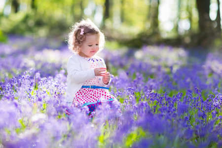 Photo pour Little girl playing in sunny blooming garden. Baby on Easter egg hunt in blue bell flower meadow. Toddler child picking bluebell flowers. Kids play outdoors. Spring fun for family with children. - image libre de droit