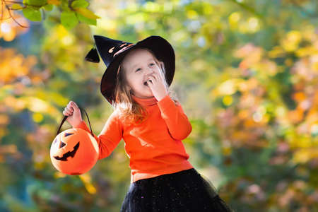 Photo for Little girl in witch costume playing in autumn park. Child having fun at Halloween trick or treat. Kids trick or treating. Toddler kid with jack-o-lantern. Children with candy bucket in fall forest. - Royalty Free Image