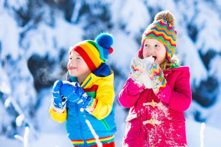 Photo pour Children play in snowy forest. Toddler kids outdoors in winter. Friends playing in snow. Christmas vacation for family with young children. Little girl and boy in colorful jacket and knitted hat. - image libre de droit