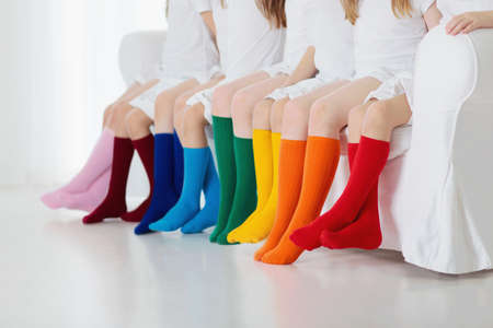Photo for Kids wearing colorful rainbow socks. Children footwear collection. Variety of knitted knee high socks and tights. Child clothing and apparel. Kid fashion. Legs and feet of little boy and girl group. - Royalty Free Image