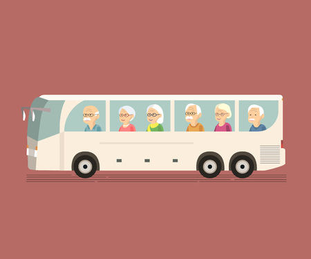Photo pour Illustration of group older people travel by bus. Happy senior couple in travel moment on sightseeing bus. Concept of active elderly during retirement. Wanderlust concept with mature people spending free time together. Old woman man traveling vector flat  - image libre de droit