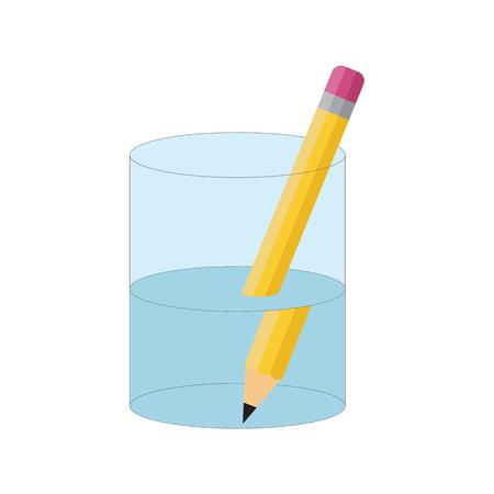 Illustration pour Bending Pencil Experiment. Refraction of Light - image libre de droit