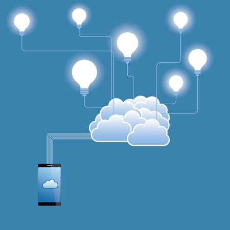 Ilustración de Cloud computing and networking design concept.The background is blue. - Imagen libre de derechos