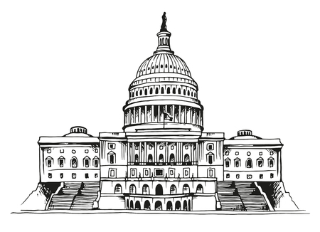 Illustration pour United States Capitol Building vector illustration isolated on white background - image libre de droit