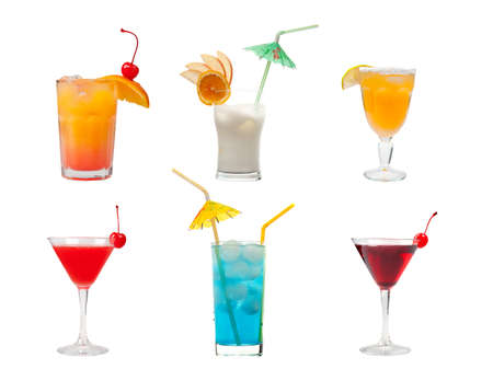 collection cocktail  .isolated on white background.clipping Path