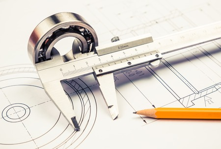 Photo for technical drawing and caliper with bearing - Royalty Free Image