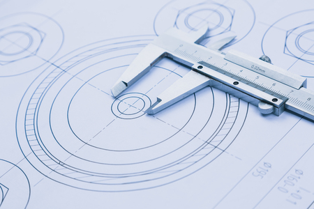 Photo pour technical drawing and caliper with bearing - image libre de droit