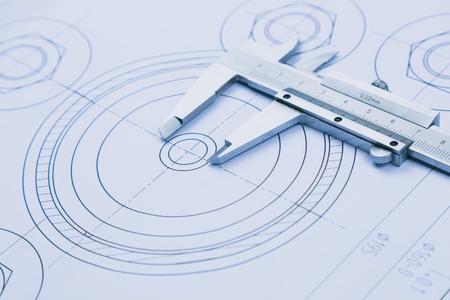 Foto für technical drawing and caliper with bearing - Lizenzfreies Bild
