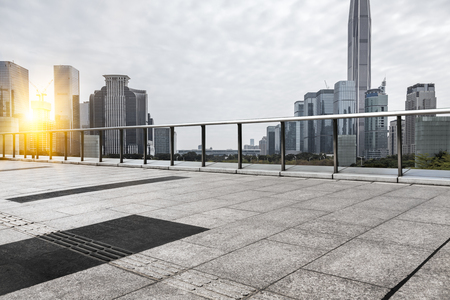 Photo for empty brick platform with shanghai city in the background - Royalty Free Image