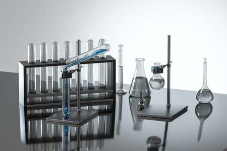 Foto de Laboratory test tube rack and flasks - Imagen libre de derechos