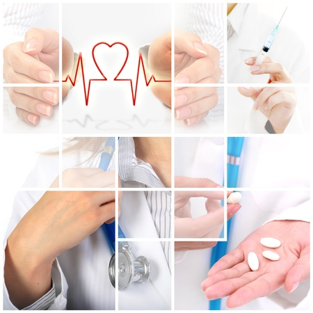 Medical collage. Health insurance conceptual image.